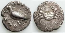 SICILY. Acragas. Ca. 510-500 BC. AR didrachm (22mm, 8.31 gm, 5h). VF. AKPAC-ANTOΣ, eagle standing left, wings closed / Crab, viewed from above. SNG AN...