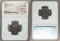 SICILY. Syracuse. Pyrrhus of Epirus (278-276 BC). AE litra (23mm, 6h). NGC Choice VF, Fine Style. ΣYΡΑΚΟΣΙΩΝ, head of young Heracles left, wearing lio...