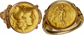 MACEDONIAN KINGDOM. Alexander III the Great (336-323 BC). AV stater (18mm, 1h). Fine, mounted in unmarked gold ring. Posthumous issue of Abydus, 310-3...