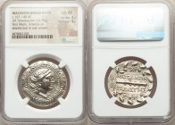 MACEDON UNDER ROME. First Meris. Ca. 167-148 BC. AR tetradrachm (31mm, 16.98 gm, 12h). NGC Choice XF 4/5 - 3/5. Diademed and draped bust of Artemis ri...