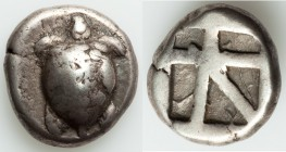 SARONIC ISLANDS. Aegina. Ca. 525-480 BC. AR stater (19mm, 12.11 gm). VF. Sea turtle, viewed from above, head turned sideways, with trefoil collar and ...
