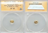 IONIA. Uncertain mint. Ca. 650-600 BC. EL sixth stater or hecte (9mm, 2.43 gm). ANACS VF 30. Field of striated lines, resembling ripples on water / Tw...