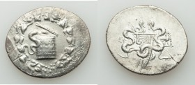 IONIA. Ephesus. Ca. 180/167-133 BC. AR cistophoric tetradrachm (31mm, 11.92 gm, 12h). VF, die shift, porosity. Ca. 160-150 BC. Cista mystica with serp...