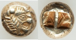 LYDIAN KINGDOM. Alyattes-Croesus (ca. 610-546 BC). EL sixth stater or hecte (9mm, 2.25 gm). XF. Sardes (?). Head of roaring lion right, radiate globul...