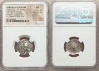 PARTHIAN KINGDOM. Sinatruces (ca. 93-69 BC). AR drachm (19mm, 4.16 gm, 2h). NGC MS 5/5 - 3/5. Rhagae. Diademed bust of Sinatruces left, wearing tiara ...