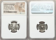 PARTHIAN KINGDOM. Gotarzes I (ca. 91-87 BC). AR drachm (20mm, 4.12 gm, 12h). NGC MS 5/5 - 3/5. Rhagae. Diademed bust left, wearing tiara with lateral ...