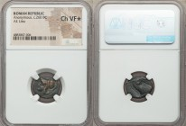 Anonymous. Ca. 260 BC. AE litra (18mm, 10h). NGC Choice VF S. Rome. Helmeted head of Minerva left / ROMANO, head of bridled horse right. Crawford 17/1...