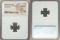 Anonymous. Ca. 235-231 BC. AE half-unit (12mm, 7h). NGC AU S. Rome. Head of Roma right, wearing Phrygian helmet / ROMA, Dog standing right, left forep...