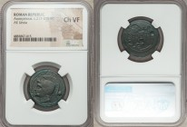 Anonymous. Ca. 217-215 BC. AE uncia (25mm, 3h). NGC Choice VF. Rome. Helmeted head of Roma left, • (mark of value) behind / ROMA, prow of galley right...