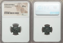 Anonymous. Ca. 217-215 BC. AE quartuncia (15mm, 8h). NGC XF S, Rome. Helmeted head of Roma right / ROMA, prow of galley right. Crawford 38/8.  HID0980...