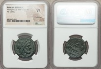 Anonymous. After ca. 211 BC. AE semis (26mm, 2h). NGC VF, scratches. Rome, sextantal standard. Laureate head of Saturn right; S (mark of value) behind...
