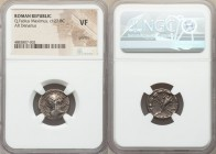 Q. Fabius Maximus (ca. 127 BC). AR denarius (17mm, 2h). NGC VF, graffito. Rome. Q•MAX-ROMA, head of Roma right, wearing winged helmet decorated with g...
