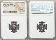 Numerius Fabius Pictor, as Flamen Quirinalis (ca. 126 BC). AR denarius (16mm, 2h). NGC VF, scratches. Rome. Head of Roma right wearing winged helmet s...