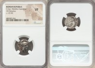 C. Caecilius Metellus Caprarius (ca. 125 BC). AR denarius (18mm, 9h). NGC VF. Rome. ROMA, head of Roma right, wearing winged helmet with head of griff...