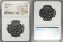 Q. Titius (ca. 90 BC). AE as (26mm, 7h). NGC Choice VF. Rome. Laureate head of bearded Janus; no mark of value above / Q•TITI, prow of galley right; s...