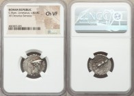 C. Mamilius Limetanus (ca. 82 BC). AR denarius serratus (19mm, 2h). NGC Choice VF. Rome. Draped bust of Mercury right, wearing winged petasus, caduceu...
