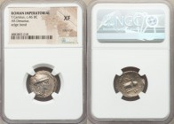 T. Carisius (ca. 46 BC). AR denarius (19mm, 2h). NGC XF, edge cut, edge bend. Rome. MONETA, draped bust of Juno Moneta right / T•CARISIVS, wreathed ca...