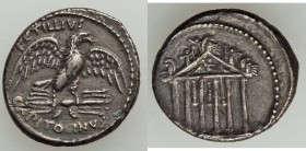 Petillius Capitolinus (ca. 43 BC). AR denarius (18mm, 3.72 gm, 7h). VF, broken and repaired. Rome. PETILLIVS-CAPITOLINVS, eagle standing facing on thu...