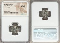 Nero (AD 54-68). AR denarius (18mm, 5h). NGC Choice Fine. Rome, AD 64-65. NERO CAESAR-AVGVSTVS, laureate head of Nero right / CONCORDIA-AVGVSTA, Conco...