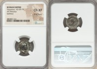 Vespasian (AD 69-79). AR denarius (18mm, 7h). NGC Choice XF, Fine Style. Ephesus, AD 69-70. IMP CAES-VESPAS AVG, laureate head of Vespasian right / AV...