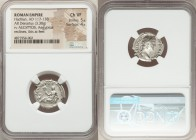 Hadrian (AD 117-138). AR denarius (18mm, 3.30 gm, 7h). NGC Choice VF 5/5 - 4/5. Rome, AD 134-138. HADRIANVS-AVG COS III P P, laureate head of Hadrian ...