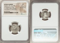 Hadrian (AD 117-138). AR denarius (17mm, 3.37 gm, 7h). NGC VF 5/5 - 5/5. Rome, AD 134-138. HADRIANVS-AVG COS III P P, laureate head of Hadrian right /...
