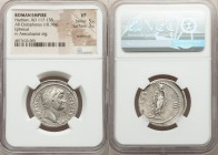 Hadrian (AD 117-138). AR cistophorus (27mm, 10.70 gm, 1h). NGC VF 5/5 - 3/5, overstruck. Ephesus, after AD 128. HADRIANVS-AVGVSTVS P P, bare head of H...