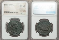 Hadrian (AD 117-138). AE sestertius (32mm, 12h). NGC Choice VF, smoothing. Rome, AD 132-134. HADRIANVS-AVGVSTVS, laureate bust of Hadrian right, drape...