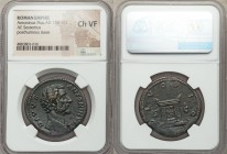 Divus Antoninus Pius (AD 138-161). AE sestertius (33mm, 11h). NGC Choice VF. Rome, AD 161. DIVVS-ANTONINVS, bare head of Divus Antoninus Pius right, d...