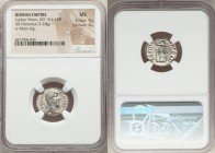 Lucius Verus (AD 161-169). AR denarius (18mm, 3.28 gm, 6h). NGC MS 4/5 - 4/5. Rome, December AD 164-August AD 165. L VERVS AVG-ARMENIACVS, bare head o...