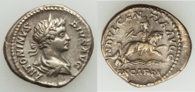 Caracalla (AD 198-217). AR denarius (19mm, 3.69 gm, 12h). VF. Rome, AD 201-206. ANTONINVS-PIVS AVG, laureate, draped youthful bust of Caracalla right,...