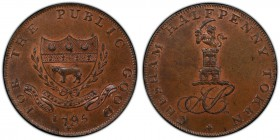 Buckinghamshire, Chesham copper 1/2 Penny Token 1795 MS64 Brown PCGS, D&H-20. CHESHAM HALFPENNY TOKEN. AS cypher topped by a castle and lion / FOR THE...