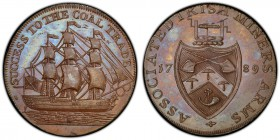Durham, South Shields copper 1/2 Penny Token 1789 MS65 Brown PCGS, D&H-7. SUCCESS TO THE COAL TRADE. Ship / ASSOCIATED IRISH MINERS ARMS. Arms and win...
