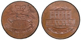 Essex, Chelmsford copper 1/2 Penny Token 1794 MS64 Brown PCGS, D&H-5b. Edge: PAYABLE IN HULL AND IN LONDON. SHIRE HALL. Building, ribbon with inscript...