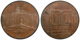 Essex, Warley copper 1/2 Penny Token 1794 MS64 Brown PCGS, D&H-9. Edge: PAYABLE AT CHARLES HEATHS BAY MAKER COLCHESTER. A view of Colchester castle, 1...