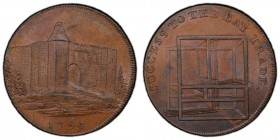 Essex, Colchester copper 1/2 Penny Token 1794 MS65 Brown PCGS, D&H-10. Edge: PAYABLE AT CHARLES HEATHS BAY MAKER COLCHESTER . X. Colchester Castle / A...