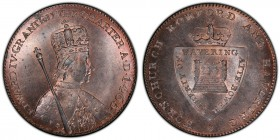 Essex, Hornchurch copper 1/2 Penny Token ND (18th Century) MS65 Red and Brown PCGS, D&H 33. Crowned bust right, a scepter over the right shoulder; EDW...