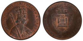 Essex, Hornchurch copper 1/2 Penny Token ND (1790s) MS64 Red and Brown PCGS, D&H-33. Edge: Plain. Crowned bust right, a scepter over the right shoulde...