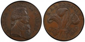 Essex, Warley copper 1/2 Penny Token 1794 AU58 Brown PCGS, D&H-36. GEORGE PRINCE OF WALES. Bust right / HALFPENNY / ICH DIEN. Prince of Wales crest an...