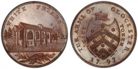 Gloucestershire, Gloucester copper Penny Token 1797 MS64 Brown PCGS, D&H-8. White Friars / Arms. Includes original collector's ticket.  HID09801242017