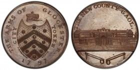 Gloucestershire, Gloucester copper Penny Token 1797 MS64 Brown PCGS, D&H-10, Conder p.37, 6, Atkins p.31, 12. Edge: Plain. Shield of arms, CITY TOKEN ...