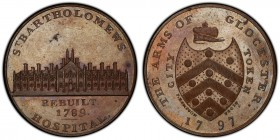 Gloucestershire, Gloucester copper Penny Token 1797 MS64 Brown PCGS, D&H-11. Coat of arms / St Bartholomew's Hospital. Includes original collector's t...
