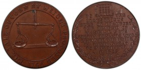 Gloucestershire, Badminton copper 1/2 Penny Token 1796 MS63 Brown PCGS, D&H-50. Pair of scales / Beaufort legend.  HID09801242017