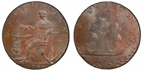 Hampshire, Emsworth copper 1/2 Penny Token 1794 MS64 Brown PCGS, D&H-10. Female seated with an anchor and crowned lion, right arm resting on a globe /...