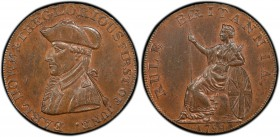 Hampshire copper Token 1794 MS64 Brown PCGS, D&H-13. Edge: PAYABLE AT LONDON LIVERPOOL OR BRISTOL. Bust of Earl Howe left; EARL HOWE & THE GLORIOUS FI...