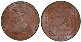 Hampshire, Emsworth copper 1/2 Penny Token 1794 MS63 Brown PCGS, D&H-18. EARL HOWE & THE GLORIOUS FIRST OF JUNE around, Bust of Earl Howe left / Foot....