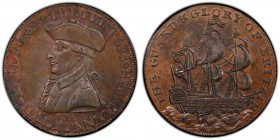 Hampshire, Emsworth copper 1/2 Penny Token 1795 MS63 Brown PCGS, D&H-29b. Edge: PAYABLE IN DUBLIN. EARL HOWE & THE FIRST OF JUNE 1794. Uniformed bust ...
