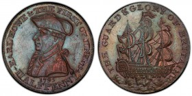 Hampshire, Emsworth copper 1/2 Penny Token 1795 MS62 Brown PCGS, D&H-29b. EARL HOWE & THE FIRST OF JUNE 1794. Uniformed bust of Earl Richard Howe left...
