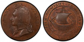 Hampshire, Newport copper 1/2 Penny Token 1792 MS64 Brown PCGS, D&H-46. Edge: PAYABLE AT HIS OFFICE NEWPORT. ROBERT BIRD WILKINS. Bust left / ISLE OF ...