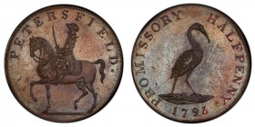 Hampshire, Petersfield copper 1/2 Penny Token 1793 MS64 Brown PCGS, D&H-48a. Edge: Engrailed. PETERSFIELD. Man on horseback left / PROMISSORY HALFPENN...